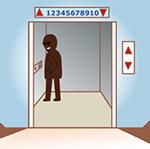 エレベーターの中に潜む不審者